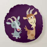 Two Cute Happy Cartoon Goats Round Pillow