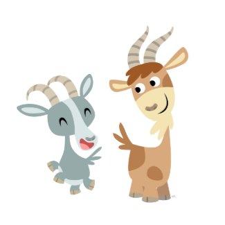 Two Cute Happy Cartoon Goats Sticker sticker