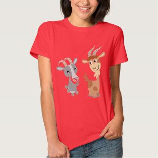 Two Cute Happy Cartoon Goats Women T-Shirt