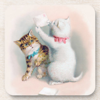 Two Cute Kittens - Vintage Anthropomorphic Cat Art Drink Coaster