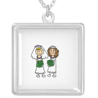 Two Cute Little Brides Silver Plated Necklace
