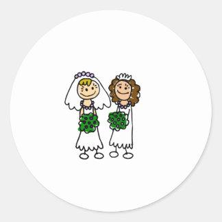 Two Cute Little Brides Classic Round Sticker