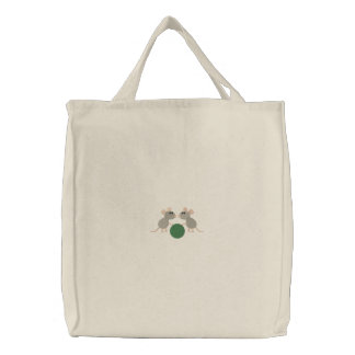 Two Cute little gray mice with ball embroidery Embroidered Tote Bag