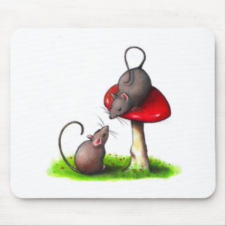 Two Cute Little Mice and a Toadstool: Artwork Mouse Pad