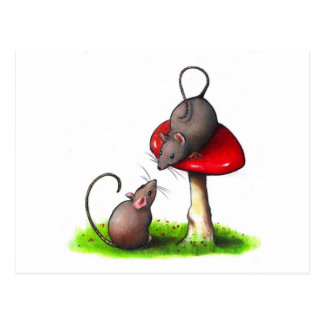 Two Cute Little Mice and a Toadstool: Artwork Postcard
