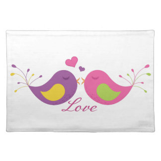Two Cute Lovebirds Cloth Placemat
