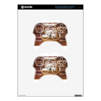 Two cute Maltese puppies sitting in a basket Xbox 360 Controller Decal