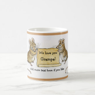 Two Cute Mice with Parchment Scroll Classic White Coffee Mug