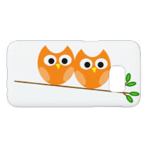 Two Cute Orange Owls on a Branch With Green Leaves Samsung Galaxy S7 Case