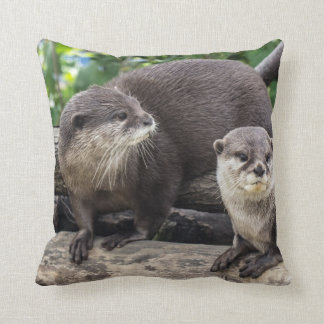 Two Cute Otters   Otter Throw Pillow
