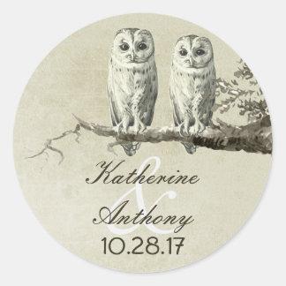 Two cute owls wedding stickers