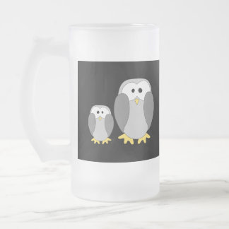 Two Cute Penguins. Cartoon. Frosted Glass Beer Mug