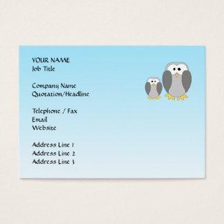 Two Cute Penguins. Cartoon on Sky Blue. Business Card