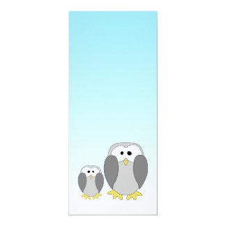Two Cute Penguins. Cartoon on Sky Blue. Card