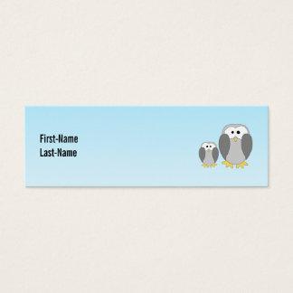 Two Cute Penguins. Cartoon on Sky Blue. Mini Business Card