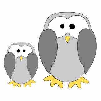 Two Cute Penguins. Cartoon. Photo Sculptures