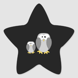 Two Cute Penguins. Cartoon. Star Stickers