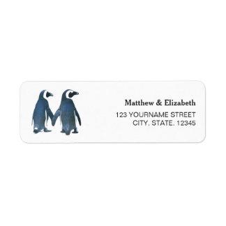 Two Cute Penguins | Romantic Wedding Label