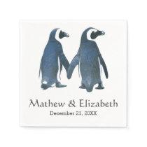 Two Cute Penguins | Romantic Wedding Paper Napkin