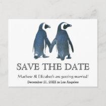 Two Cute Penguins | Romantic Wedding Save The Date Announcement Postcard