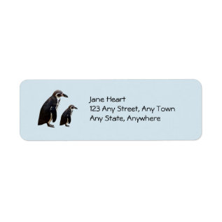 Two Cute Penguins Standing Avery Label at Zazzle