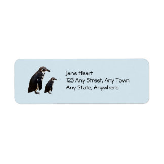 Two Cute Penguins Standing Avery Label