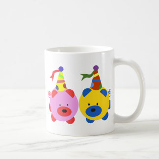 Two cute piggies at party time. coffee mug