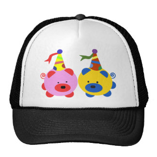 Two cute piggies at party time. mesh hat
