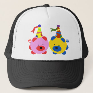 Two cute piggies at party time. trucker hat