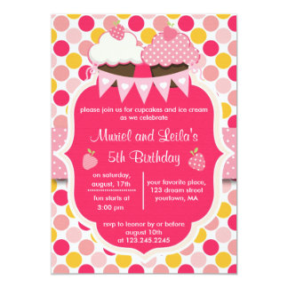 Two Cute Pink Cupcakes, Dots & Strawberries Party 5x7 Paper Invitation Card