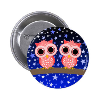 two cute pink owls button