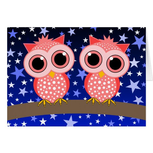 two cute pink owls card