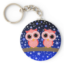 two cute pink owls keychain