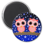 two cute pink owls magnet
