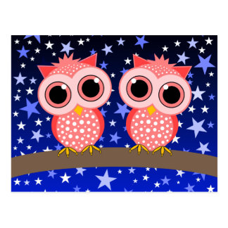 two cute pink owls postcard