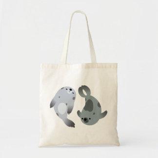 Two Cute Playful Cartoon Harp Seals Bag