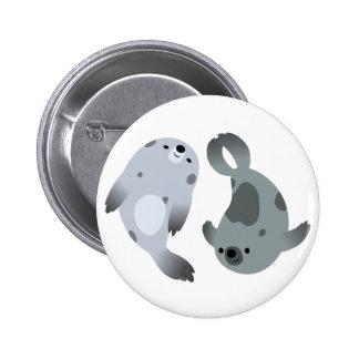 Two Cute Playful Cartoon Harp Seals Button Badge