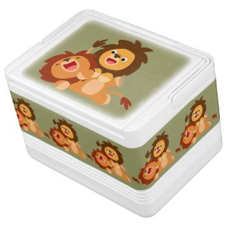 Two Cute Playful Cartoon Lions 12 Can Cooler Igloo Can Cooler
