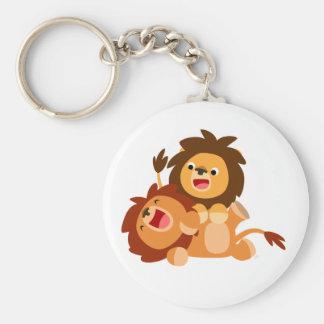 Two Cute Playful Cartoon Lions Keychain