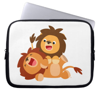 Two Cute Playful Cartoon Lions Laptop Case Laptop Computer Sleeve