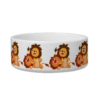 Two Cute Playful Cartoon Lions Pet Bowl