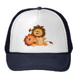 Two Cute Playful Cartoon Lions Trucker Hat