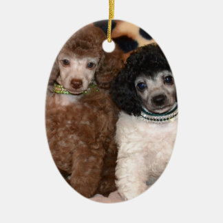 Two Cute Poodle Toy Poodle Puppies Ceramic Ornament