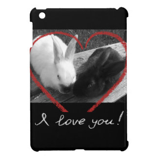 Two cute rabbits with a heart. Opposites attract iPad Mini Cases