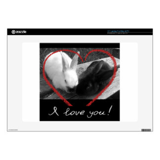 Two cute rabbits with a heart. Opposites attract Laptop Decal