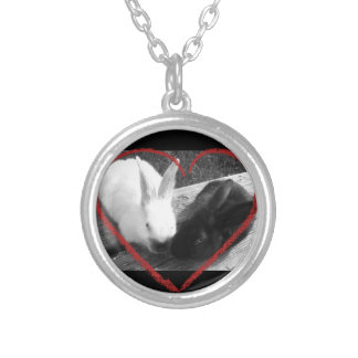 Two cute rabbits with a heart. Opposites attract Silver Plated Necklace