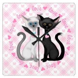 Two Cute Siamese Cats Square Wall Clock