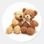 Two Cute Teddy Bears Design Classic Round Sticker