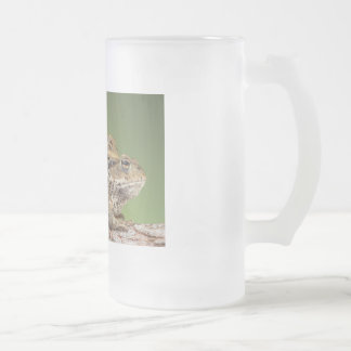 Two Cute Toads Frosted Glass Beer Mug