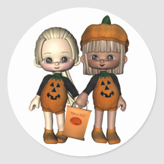 Two Cute Toon Trick-or-Treaters Classic Round Sticker